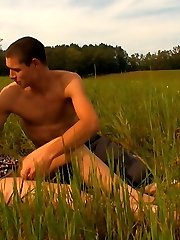 As the sun sets on this field, this young studs cock starts to rise. Soon, hes sliding it deep...
