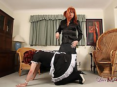 Luci May has had so many different crossdressing maids and they simply never seem to learn! If they don't clean my house properly they'll be spanked! This maid was useless at cleaning but so much fun when she was getting spanked