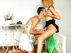 Lewd shemale turning a stud into her French maid and penetrating him like superslut