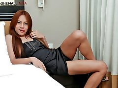 Cool, sexy ladyboy shows how to jerk