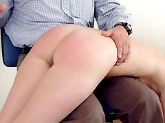 Chubby student having her naughty ass spanked by professor