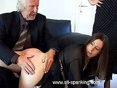 Gorgeous girl spanked and caned in her nightie - hot blistered cheeks and pouting cunt on show