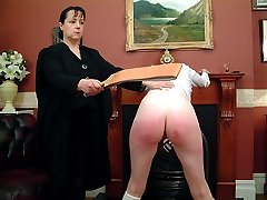 Humiliating punishment for school girl - blistered cheeks and exposed cunt