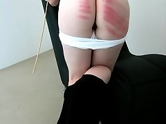 Deep red marks on large white ass cheeks