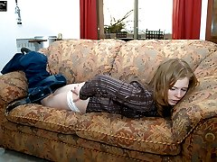 Bare assed cutie in tears of pain from blistering spanking punishment