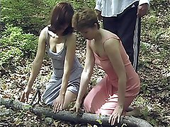 Terrified girl stripped naked in the forest - tied and caned on her quivering buttocks
