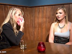 19 year old Melissa May meets hot pervy MILF Simone Sonay in a crowded bar to sell her dirty panties. Simone entices Melissa to come back to her place and submit to spanking, cropping, bondage, finger fucking, face sitting, the dildo gag, tons of spanking and pussy and anal strap-on fucking!!!