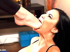 Yoga student Jasmine Jae didn't realize the gravity of her offense when she answered her phone during Chanel Preston's yoga class. After the other students left, Chanel invited Jasmine to stay after class for a private lesson that improved her discipline with spanking, foot worship, finger banging, flogging, face sitting, and a hot strap-on pussy and anal fucking on a yoga ball!