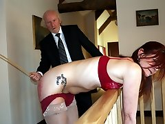 Severe caning for beautiful nymph - bright scarlet buttocks