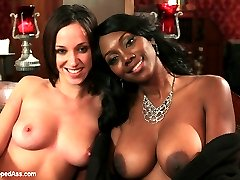 Please welcome Jada Stevens and new domme Nyomi Banxxx to WhippedAss.com! Jada's an all natural sub with a perfectly round ass that plays Nyomi's maid. Jada stumbles upon Nyomi's dark secret when she get to curious for her own good and needs to be punished! Jada discovers Nyomi has paid for such a lush lifestyle by way of her secret job as a professional dominatrix! Jada is put on display, flogged, spanked and has her nipples clamped and weighted. She's bent over Nyomi's knee for a hot OTK spanking till her perfect round ass is bright red. She's made to lick and suck Nyomi's toes, fucked in her pussy while in restrictive bondage then strap-on fucked in her ass till she learns to stop snooping around!