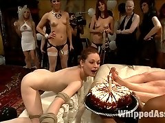 If you didn't catch this PUBLIC ALL GIRL ORGY live you are in for a treat! We have all the hottest action packed footage edited down in one nice hot lesbian orgy package for your viewing pleasure! Whipped Ass and Electrosluts united to throw Justine Joli the biggest sexiest lesbian BDSM orgy she could dream of! Watch as Justine makes all her fantasies come true by being spanked by a room full of stranger, getting fucked by a room full of strangers and flogged, clamped, humiliated and fisted in one intense lesbian BDSM orgy extravaganza! All the ladies were horny, all the ladies were hot! This is one live and public birthday party you do NOT want to miss!Don't forget to check out Electrosluts.com to see all the hot electrosex action!