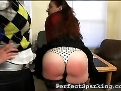 This secretary has a sensitive pair of ass cheeks, reddening instantly. But her boss, a mean spanking femdom, pulls out her favorite leather belt.