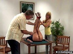 Tyron can't keep herself out of trouble. This time, it's serious. Both our spanking Master and Mistress arrive to discipline this blonde bombshell.