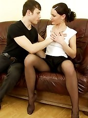 Lovely teen babe in sexy black nylons gets licked and fucked by horny young fella
