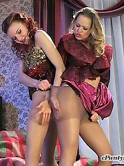 On having a drink babes get to kinky lesbian making out and pantyhose play