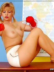 Naughty schoolgirl in suntan pantyhose and ankles