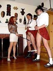 Hard bare bottom spanking for naughty school girl with knickers down - deep crimson buttocks