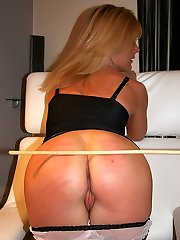 Cute blonde honey caned hard on her pert ass - crimson stripes and welts