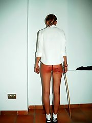 Cute teen in the corner with brutally caned bottom - severe stripes and scars