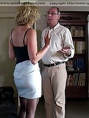 Lovely blonde spanked otk on the sofa - fully exposed ass and cunt