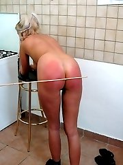 Big assed naked blonde caned and ashamed in the kitchen - deep purple stripes