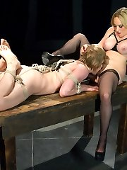 Cute little Alani Pi is captured and held in an interrogation room.  Aiden Starr needs the coordinates for a secret enemy testing compound and she's sure her captive knows what they are. This cute little brat is a lot stronger than she looks and doesn't make a sound as Aiden absolutely wails on her with the flogger.  Ah sweet torment: when the caning and flogging prove ineffective she strap-on fucks her little bitch in the ass and makes her eat pussy. Hardcore anal lez-dom: will the prisoner cave under the pressure of a twisted lesbian mind-fuck?!