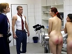 Bare bottom spanking with a wooden ruler