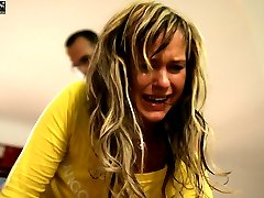 Stunning blonde beauty in floods of tears from severe caning
