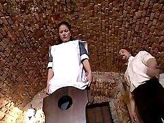 Servant girl spanked otk in cellars - bottom up panties down beating