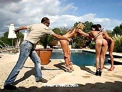 Three babes punished at pool