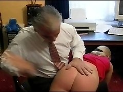 Blonde girl gets ass paddled