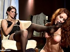 Monique Alexander may be a famous porn starlet but that doesn't stop Bobbi Starr to use her as she pleases and introduce her to the dark world of lesbian BDSM. Monique has no clue what BDSM is and has genuine reactions to OTK spanking, flogging, caning and dominance and submission. Bobbi doesn't falter a bit when her friend can't help but nervously laugh instead she just stuffs her pretty stocking feet in her mouth and strap-on fucks and fists Monique like she's never been fucked before!   I've included an hour long bonus after the closing interview of awesome behind the scenes footage that really gets in the head of this famous starlet!