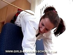 School girl's upturned bottom is blistered, red and sore
