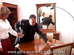 School knickers removed for leg spread caning