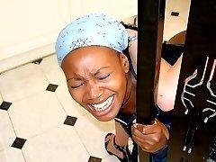 Dark skinned lovely spanked otk on her big bottom in the kitchen