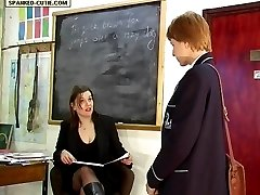 Pretty school girl spanked in front of the class - skirt raised and knickers down - hot cheeks