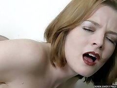 Gorgeous girl fingers her tight cunt in naked and exposed spanking frenzy