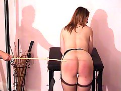 Maid in trouble gets shameful leg spread caning - fully exposed ass and cunt - hot marks