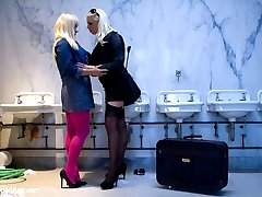 European babe, Lea Lexis arrives in the US with nothing but a suitcase and a pretty smile. While in the bathroom at the train station she meets her very first American friend, Lorelei Lee; however, sight seeing and shopping aren't on the agenda. With no friends and nowhere to go, Lorelei plays Lea like a fiddle, satisfying her lesbian desires with a complete stranger in a public bathroom! Spanking, fisting, ass and pussy licking, flogging and anal sex are all included.
