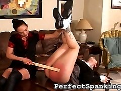 The dominating Mistress of this spanking video came home one day to find that her lesbian lover left without notice, taking all her belongings with her. She was quite surprised when her lover calls her, begging to be taken back.