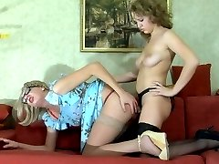 Girlified sissy shows his oral skills to a babe before a strapon ass fuck