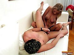 Tiny milf blondie spreads to get her ass banged then strapon fucks younger guys ass