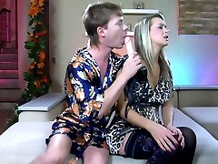Pantyhosed babe makes a guy gag on her strapon dick before impaling his ass