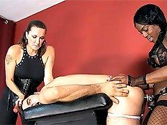 Strapon Jane and her FemDom friend Mistress Kiana punish and fuck a sissy