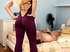 Huge strap-on makes femdom slave live through most painful anal fuck ever