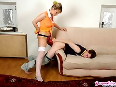 Horny babe showing to her guy a new sex toy and getting to strap-on fucking