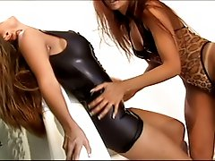 Hot redhead lesbian getting anal strapon dildo hard penetration