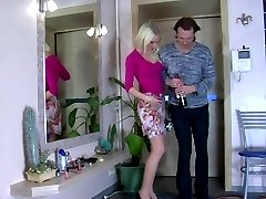 Gorgeous blonde having a strap-on date with the anal addicted businessman
