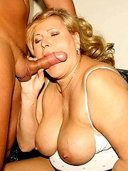 Granny with big boobs gets young cock!