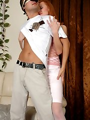 Red-haired chick whips out her big strap-on cock to screw a blindfolded guy